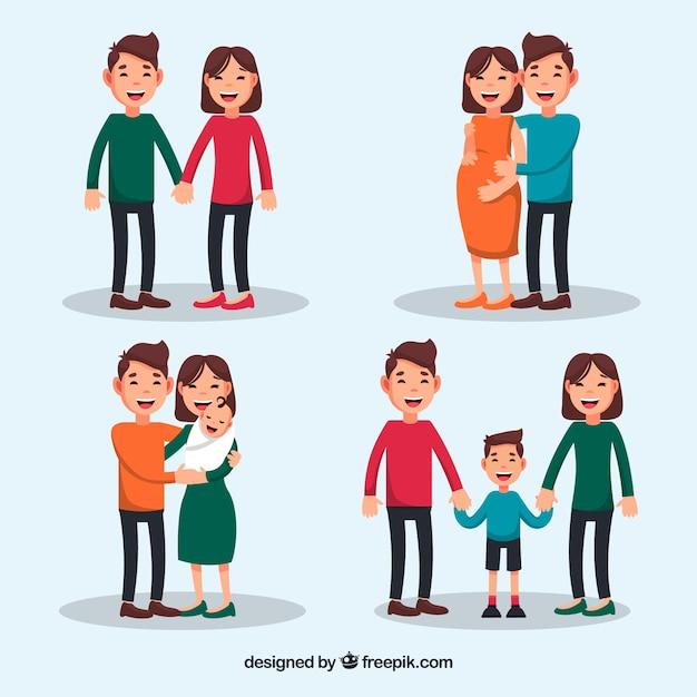 Szczęśliwa Rodzina W Różnych Etapach życia Z Płaskiej Konstrukcji Premium Wektorów