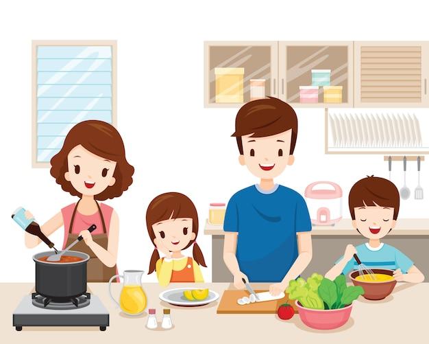 Szczęśliwa Rodzina Wspólne Gotowanie żywności W Kuchni Premium Wektorów