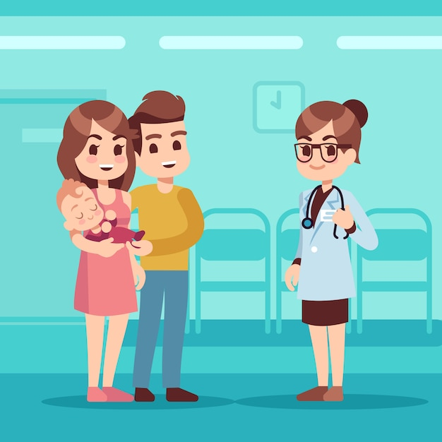 Szczęśliwa Rodzina Z Dzieckiem I Lekarzem Pediatrą. Koncepcja Kreskówka Wektor Opieki Pediatrycznej Premium Wektorów