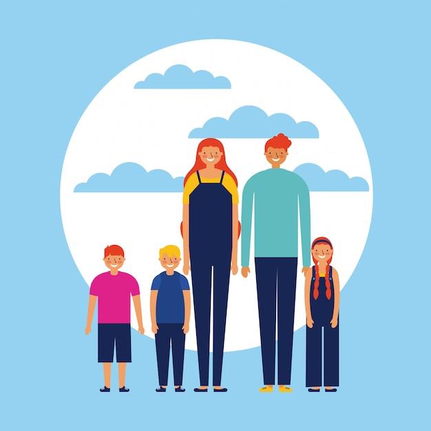 Szczęśliwa Rodzina Z Dziećmi, Płaski Darmowych Wektorów