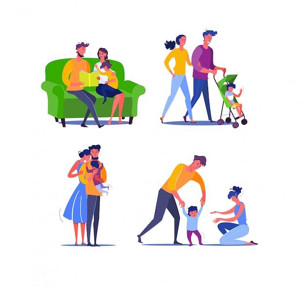 Szczęśliwa rodzina z jednym dzieckiem Darmowych Wektorów