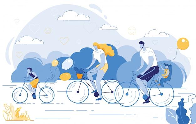 Szczęśliwa rodzina zdrowy styl życia, aktywność sportowa Premium Wektorów