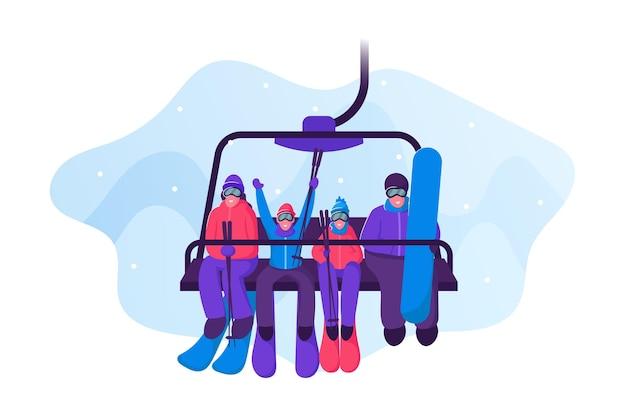Szczęśliwa Rodzina Ze Sprzętem Do Jazdy Na Nartach I Deskorolce Wjeżdża Do Wyciągu Narciarskiego. Płaskie Ilustracja Kreskówka Premium Wektorów