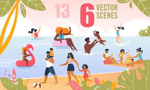 Szczęśliwa rodzina znaków spoczywa na plaży wektor zestaw Premium Wektorów