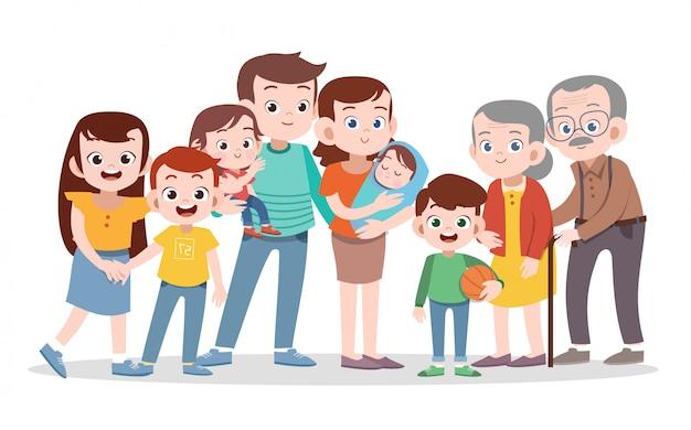 Szczęśliwa Rodzinna Wektorowa Ilustracja Odizolowywająca Premium Wektorów