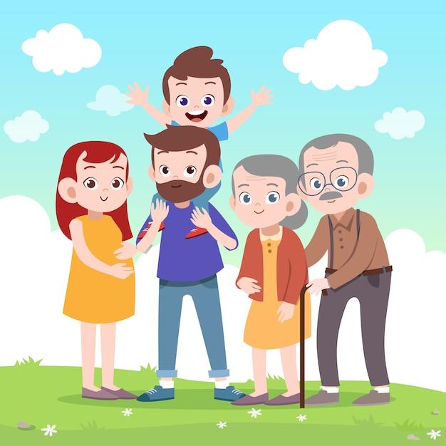 Szczęśliwa rodzinna wektorowa ilustracja Premium Wektorów
