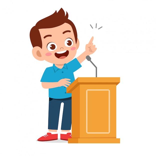 Szczęśliwa śliczna dzieciak chłopiec mowa na podium Premium Wektorów