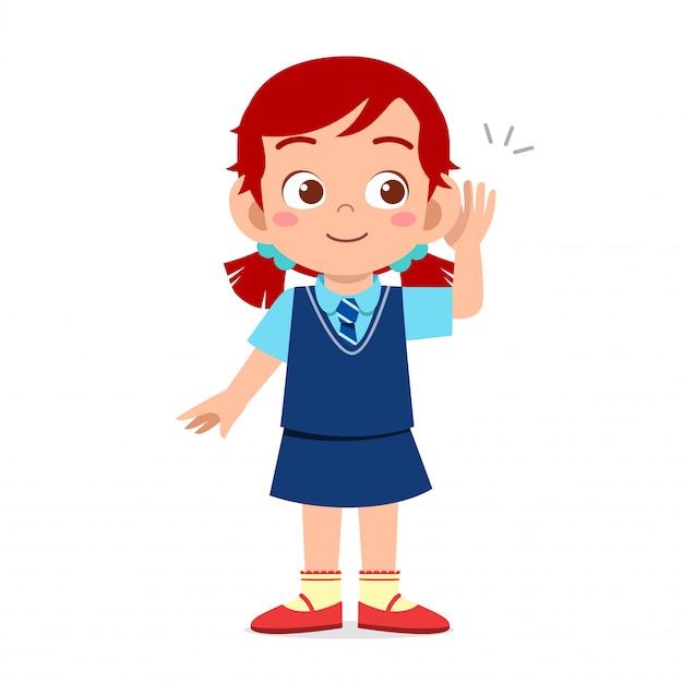 Szczęśliwa śliczna Dzieciak Dziewczyna Przygotowywająca Iść Szkoła Premium Wektorów