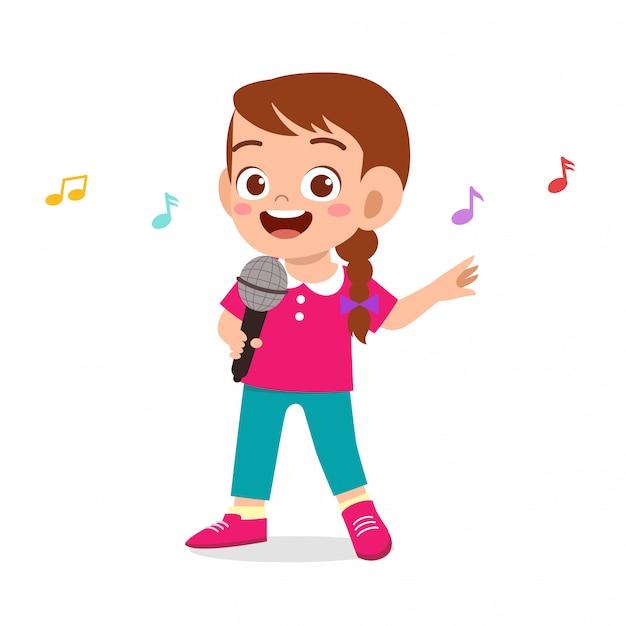 Szczęśliwa śliczna Dzieciak Dziewczyna śpiewa Piosenkę Premium Wektorów