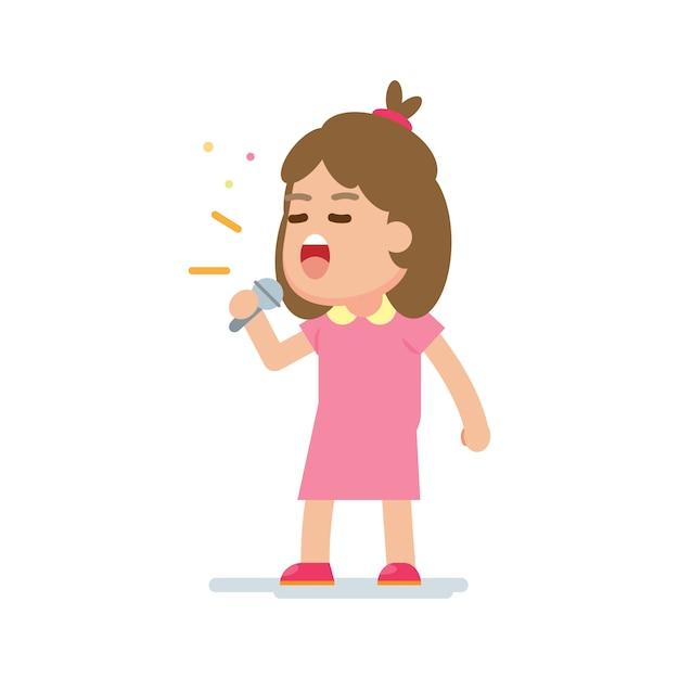 Szczęśliwa śliczna dziewczyna śpiewa piosenkę Premium Wektorów
