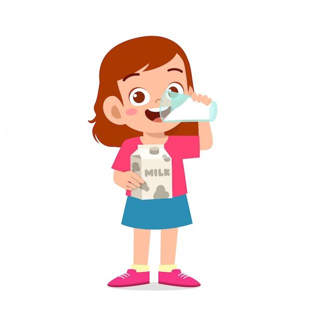 Szczęśliwa śliczna Małe Dziecko Dziewczyna Pije Mleko Premium Wektorów