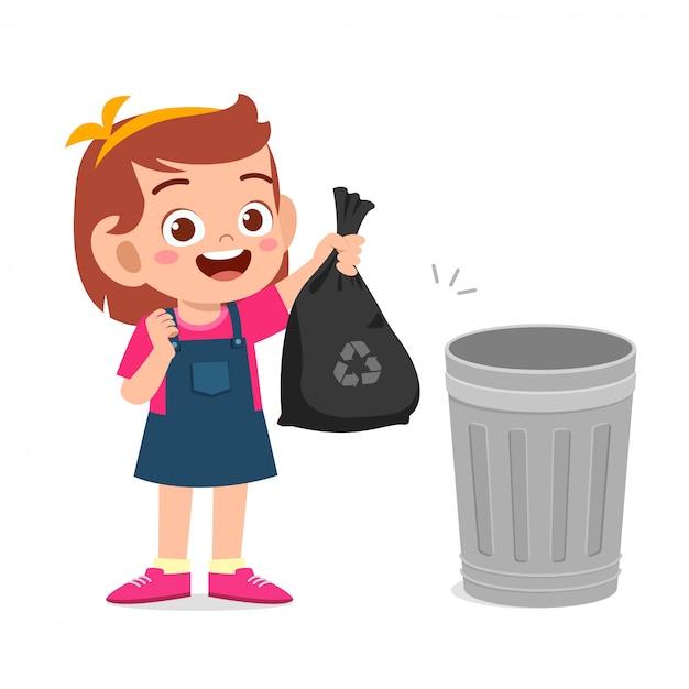 Szczęśliwa śliczna Małe Dziecko Dziewczyna Zbiera śmieci Premium Wektorów