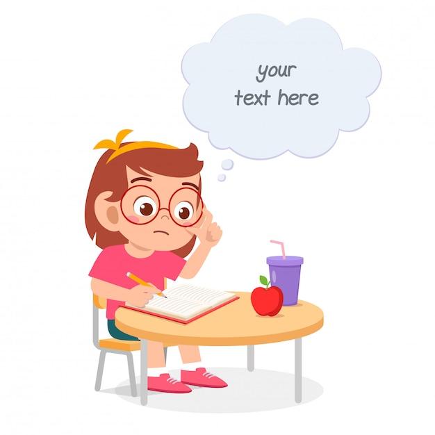 Szczęśliwa śliczna Małe Dziecko Dziewczyny Nauka Dla Testa Premium Wektorów