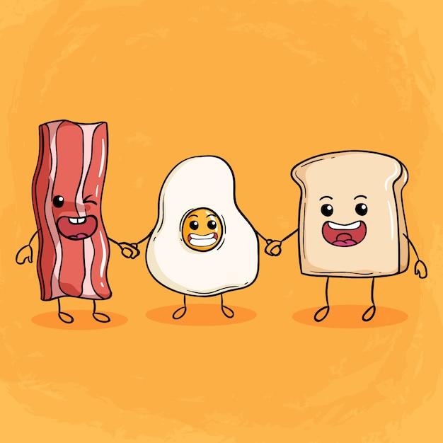 Szczęśliwa śniadaniowa Ilustracja Z ślicznym Bekonem Smażącym Jajkiem I Chlebem Premium Wektorów