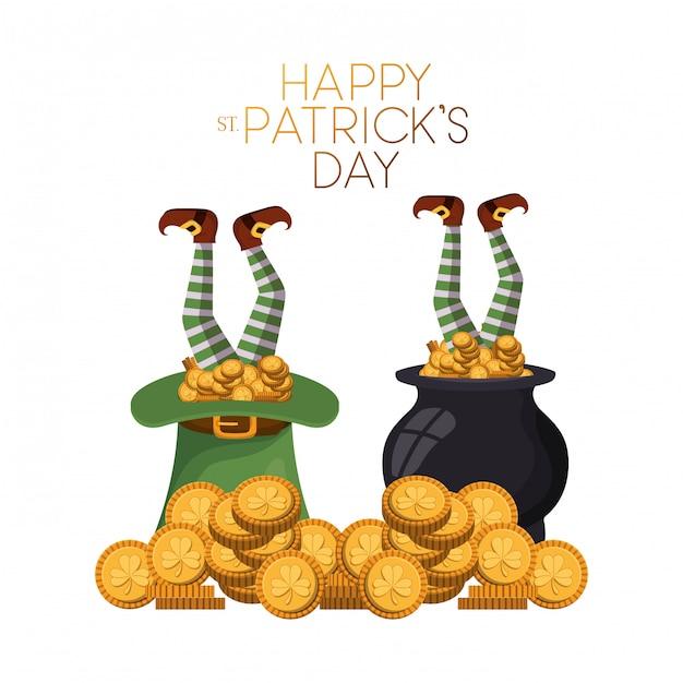 Szczęśliwa st patrick `s dnia etykietka z leprechaun ikonami Premium Wektorów