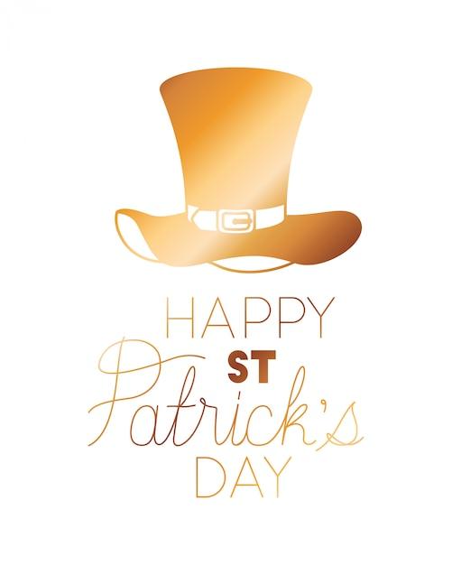 Szczęśliwa st patrick `s dnia etykietka z leprechaun kapeluszu ikonami Premium Wektorów