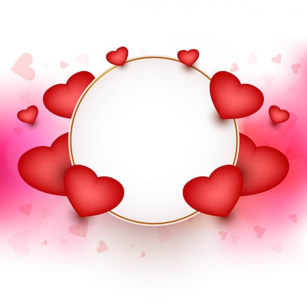 Szczęśliwa Walentynka Dnia Rama Z Serca Tłem Darmowych Wektorów