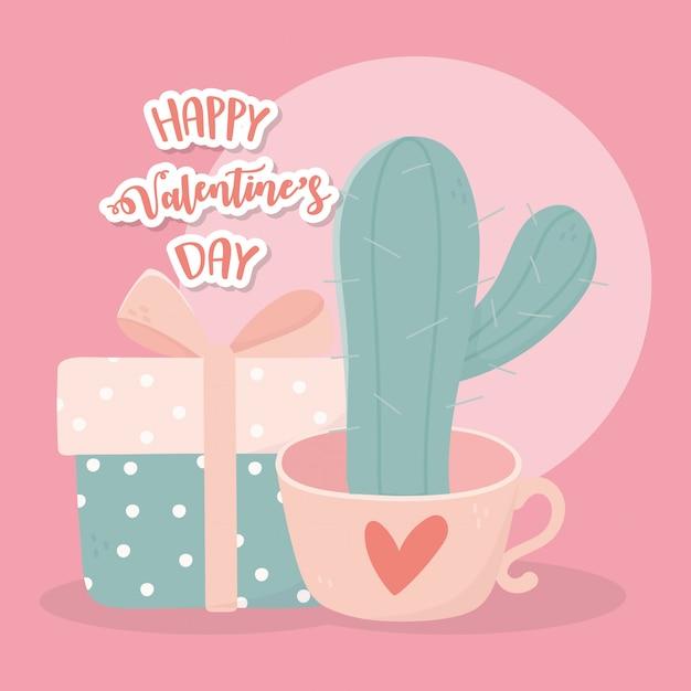 Szczęśliwa Walentynki Doniczkowa Kaktusa I Prezenta Pudełka Karta Premium Wektorów