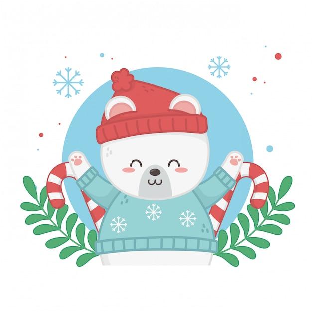 Szczęśliwa wesołych kartki świąteczne z misiem Premium Wektorów
