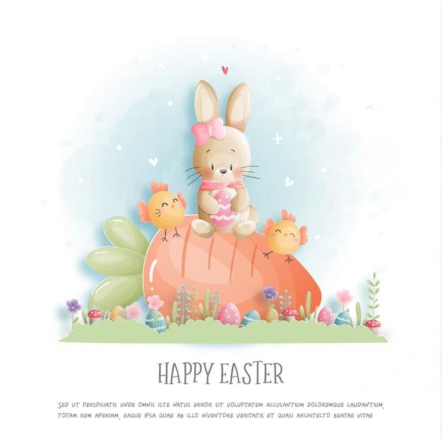 Szczęśliwa Wielkanoc Z ślicznym Królikiem I Wielkanocni Jajka W Papieru Cięcia Stylu Ilustraci. Premium Wektorów