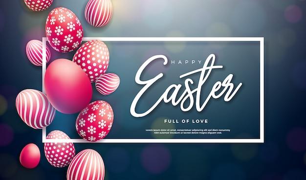 Szczęśliwa Wielkanocna Ilustracja Z Malującym Jajkiem Premium Wektorów