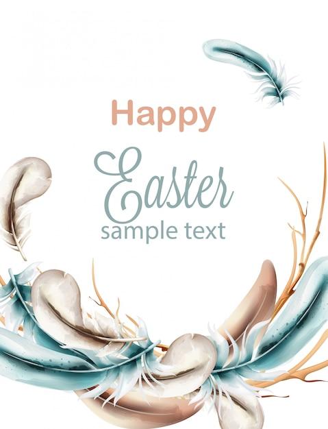 Szczęśliwa Wielkanocna Kompozycja Akwarela Z Niebieskimi Piórami Na Wieniec Premium Wektorów