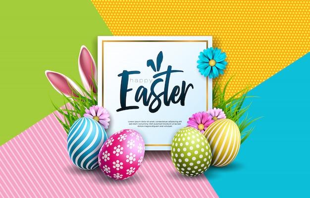 Szczęśliwa wielkanocna wakacyjna ilustracja z jajkiem i kwiatem Premium Wektorów