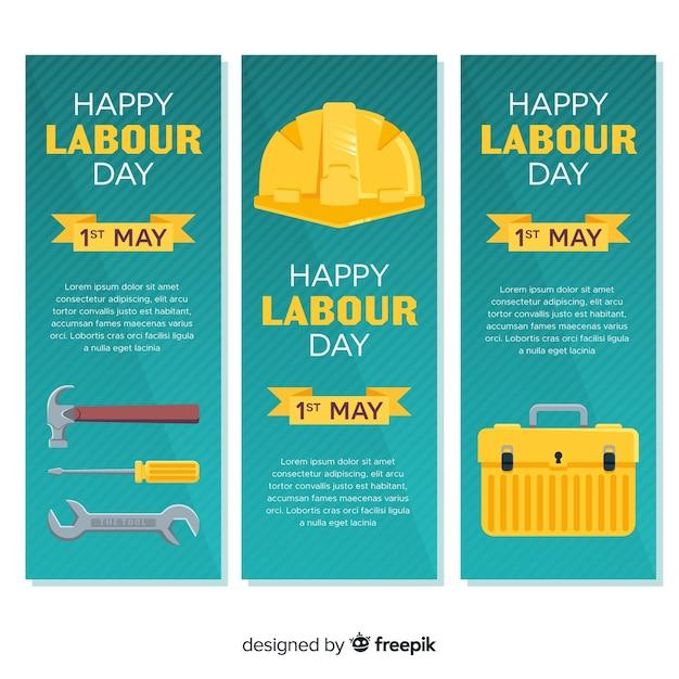 Szczęśliwe banery święta pracy Darmowych Wektorów