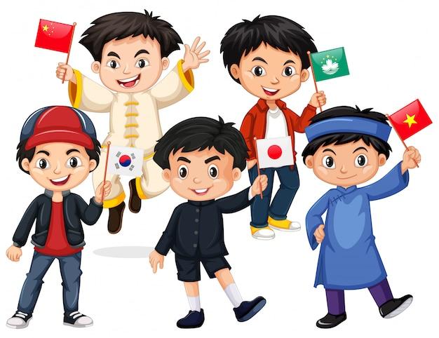 Szczęśliwe chłopcy trzymając flagę z różnych krajów Darmowych Wektorów