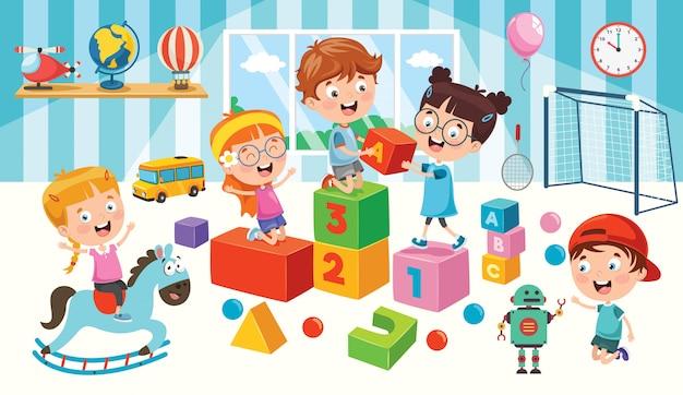 Szczęśliwe dzieci bawiące się zabawkami Premium Wektorów