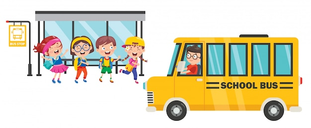 Szczęśliwe Dzieci I Autobus Szkolny Premium Wektorów
