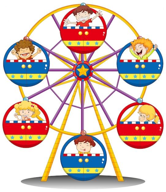 Szczęśliwe dzieci jadące diabelskim młynem Darmowych Wektorów