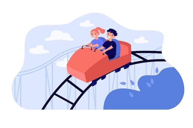 Szczęśliwe Dzieci Jadące Na Kolejce Górskiej Premium Wektorów