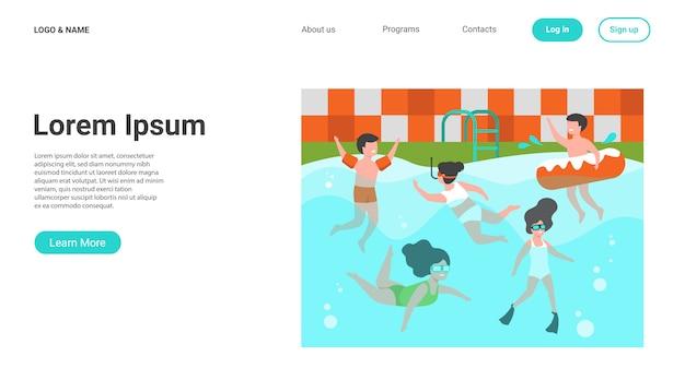 Szczęśliwe Dzieci Pływanie W Basenie Darmowych Wektorów