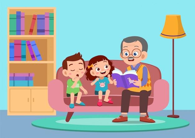 Szczęśliwe Dzieci Słyszą Historię Od Dziadka Premium Wektorów