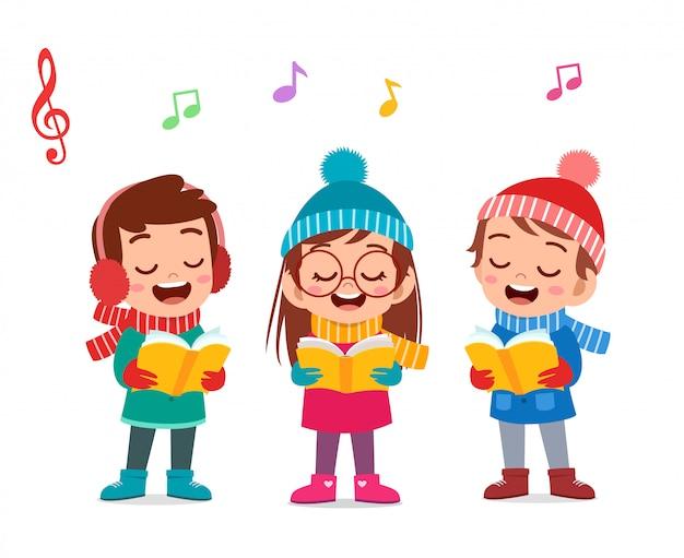 Szczęśliwe dzieci śpiewają musical Premium Wektorów