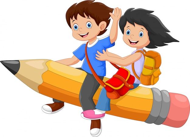 Szczęśliwe Dzieci W Wieku Szkolnym Na Latającym Ołówku Premium Wektorów