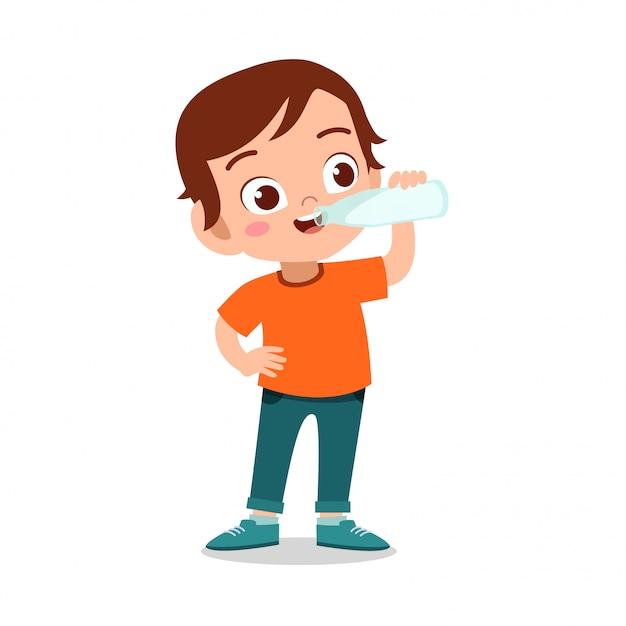 Szczęśliwe dziecko pije mleko Premium Wektorów