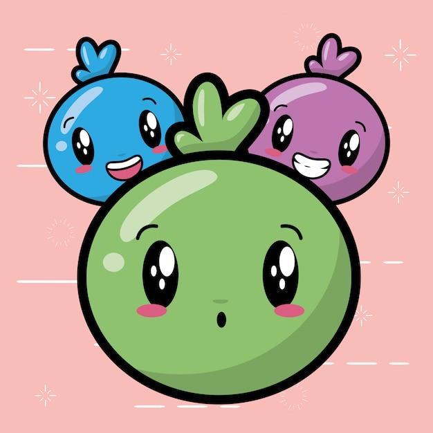 Szczęśliwe Emoji, Słodkie Twarze Kawaii Darmowych Wektorów
