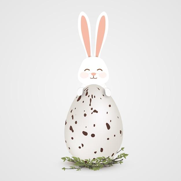 Szczęśliwe Jajko Wielkanocne Z Króliczkiem Premium Wektorów