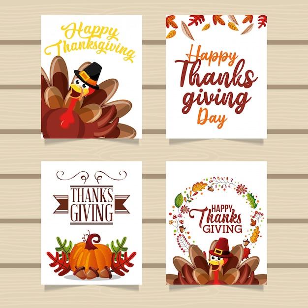 Szczęśliwe Kartki Z życzeniami Dziękczynienia Premium Wektorów