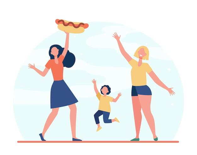 Szczęśliwe Kobiety I Dziewczyny Z Hot Dogiem. Mąka, Ulica, Płaskie Ilustracja Fast Foodów. Darmowych Wektorów