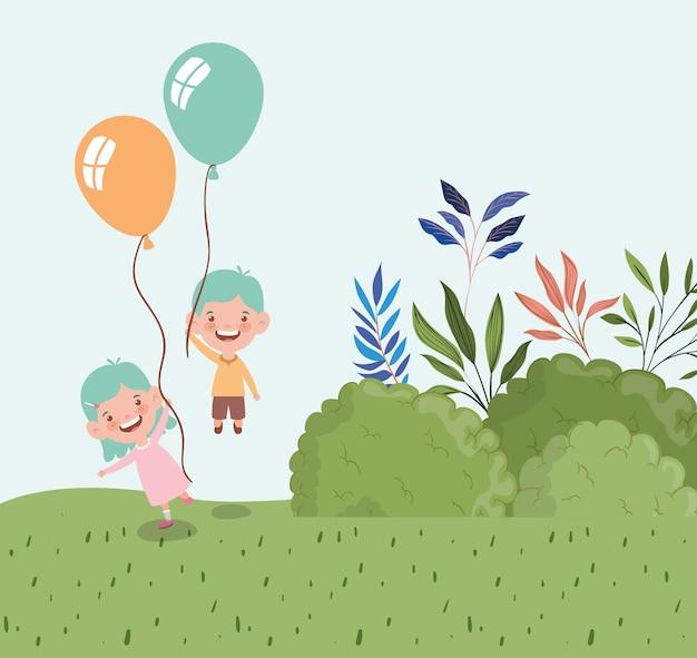 Szczęśliwe małe dzieci z balonów helem w krajobrazie pola Darmowych Wektorów