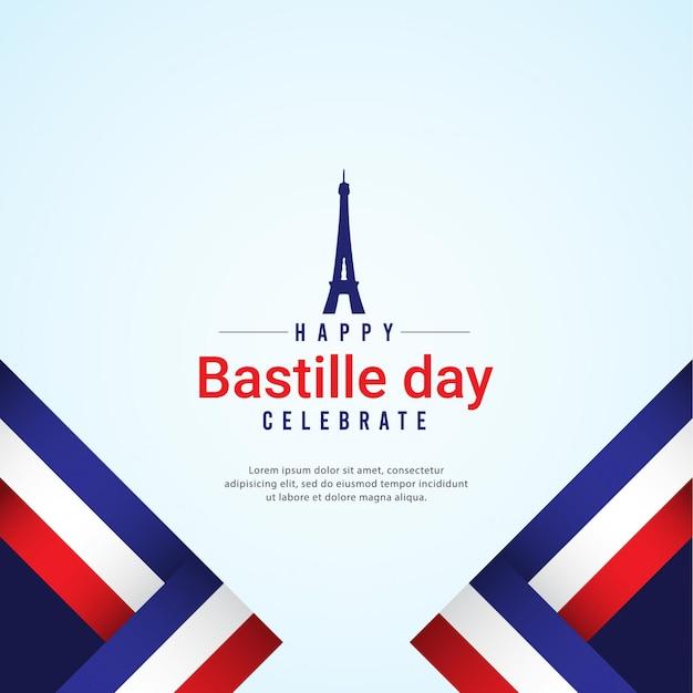 Szczęśliwe Obchody Dnia Bastylii Premium Wektorów