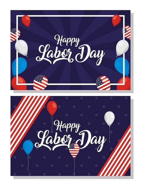 Szczęśliwe Obchody święta Pracy Z Flagami Usa I Zestaw Ikon Premium Wektorów