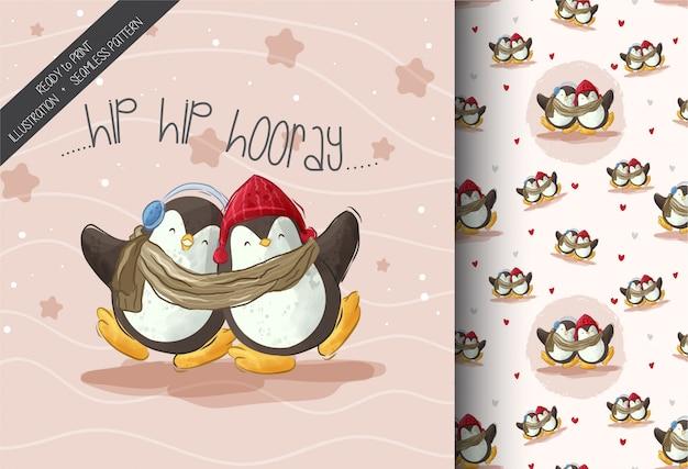 Szczęśliwe Pingwiny Na śniegu Wzór Premium Wektorów