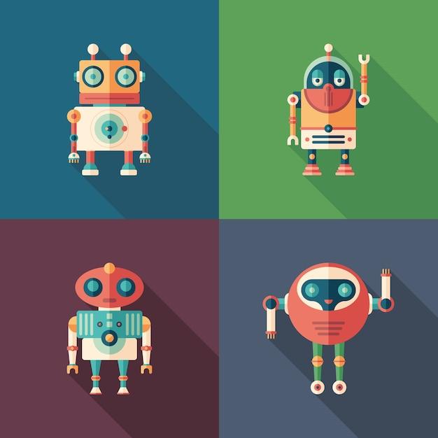 Szczęśliwe Roboty Płaskie Kwadratowe Ikony Z Długimi Cieniami Premium Wektorów