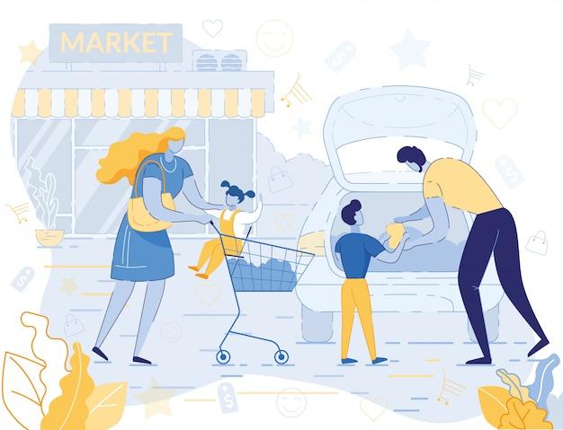 Szczęśliwe rodzinne zakupy w supermarkecie w weekend Premium Wektorów