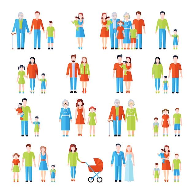 Szczęśliwe rodziny trzy pokolenia płaskie ikony ustaw z ojciec matka dziadków i dzieci streszczenie wektor na białym tle ilustracja Darmowych Wektorów