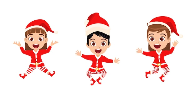 Szczęśliwe Słodkie Dziecko Dziewczyny Skoki I Macha I świętują Wesołe Charyzmaty Na Białym Tle Premium Wektorów